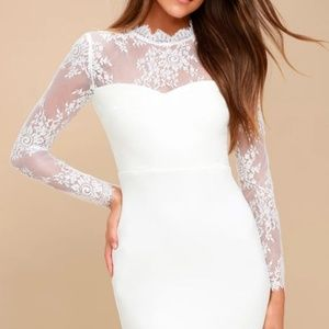 Honeymoon and Back White Lace Bodycon Dress